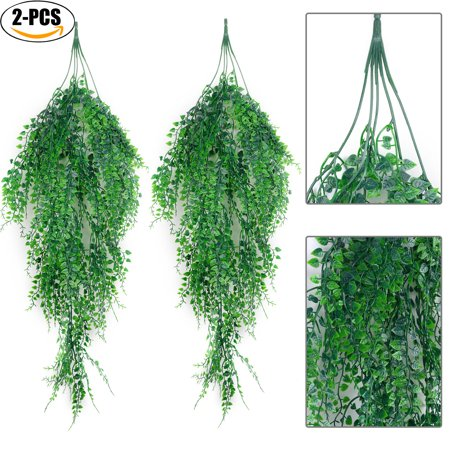 Ivy Garden - Outgeek Artificial Hanging Plants,Outgeek 2PCS Artificial Green Ivy Vine Artificial Shrubs Hanging Vine Plant for Home Garden Outdoor Wall Decoration
