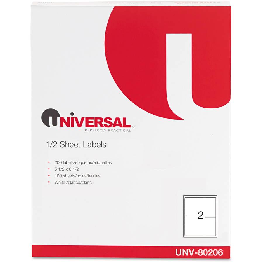 Universal Inkjet/Laser Printer Labels, 5 1/2 x 8 1/2, White, 200/Pack -UNV80206
