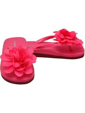 efeafeb8f Product Image L`Amour Little Girls Fuchsia Organza Flower Flip Flops