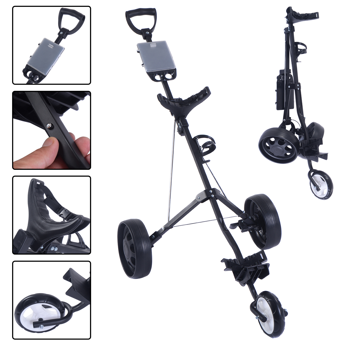 Costway Foldable 3 Wheel Push Pull Golf Cart /Cup Holder ...