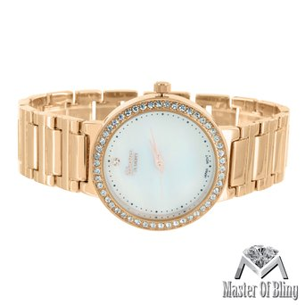 Womens MK Style Watch Mother Of Pearl White Dial Rose Finish Lab Diamond Steel