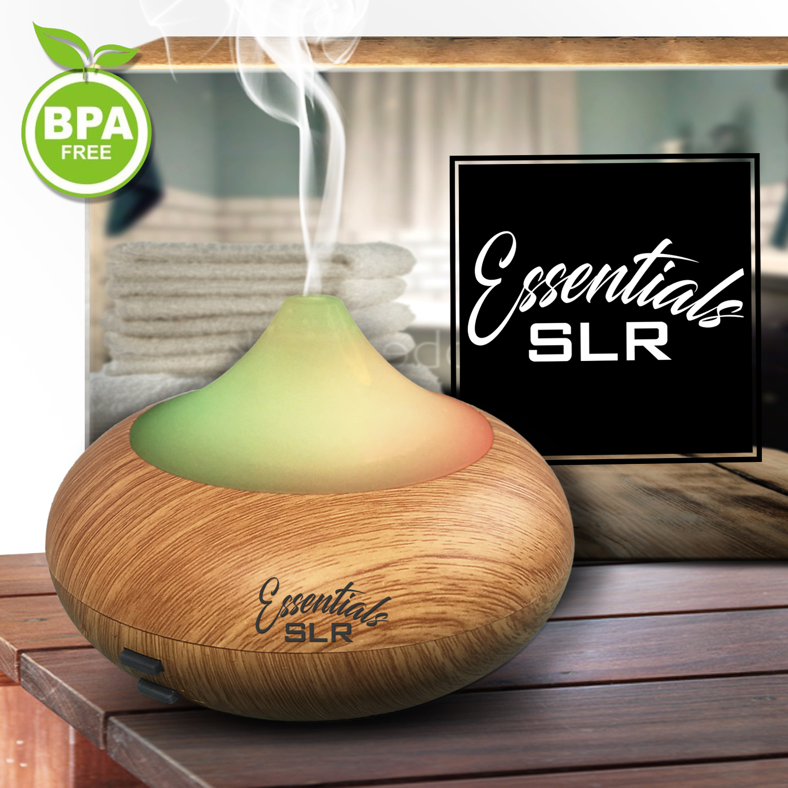 SLR 140ml Aromatherapy Essential Oil Wood Grain Diffuser BPA Free with Multi-Color Changing LED