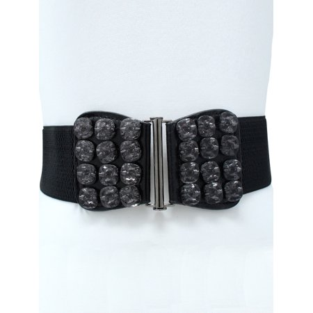 Black Elastic Waist Belt With Smoky Black Gems](Jewel Belt)