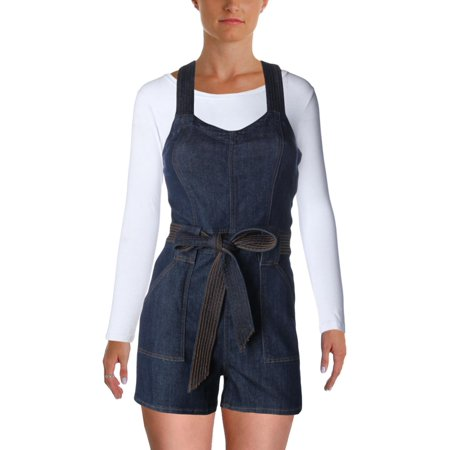 7 For All Mankind Womens V-Neck Dark Wash Romper Blue S ()