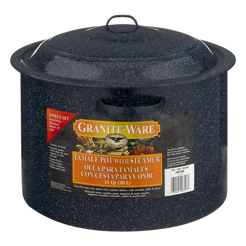 Granite Ware Tamale Pot with Steamer Insert & Lid 21 Quart - 3 PC Pot, 3.0 PIECE(S)