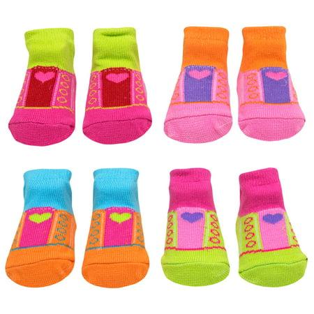 Baby Essentials Newborn Girls Socks Heart Lace-Less Sneaker Socks 4 Pack 0-6 Mth - Best Baby Socks - Favorite Unique Newborn Cute Baby Shower Gift