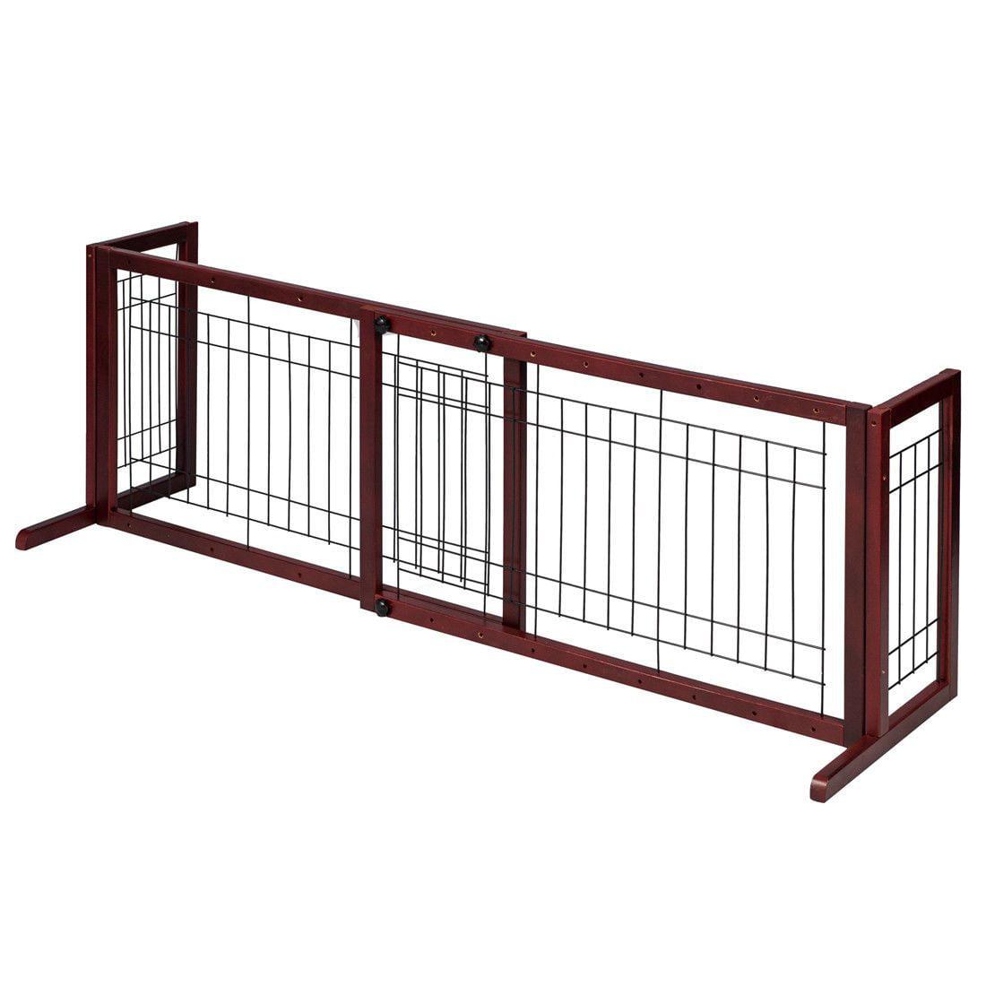 Wooden Fence Freestanding Pet Dog Gate Indoor Adjustable