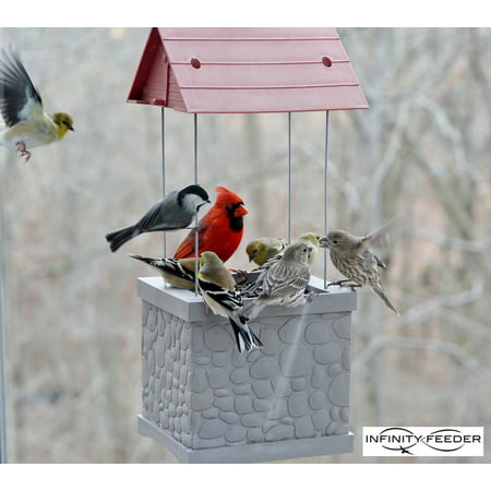 Metal Peanut Feeder - Infinity Bird Feeder - Wild Bird Feeder with 360 Degree View of Feeding Birds