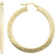 Greek Key Flat Hoop Earrings