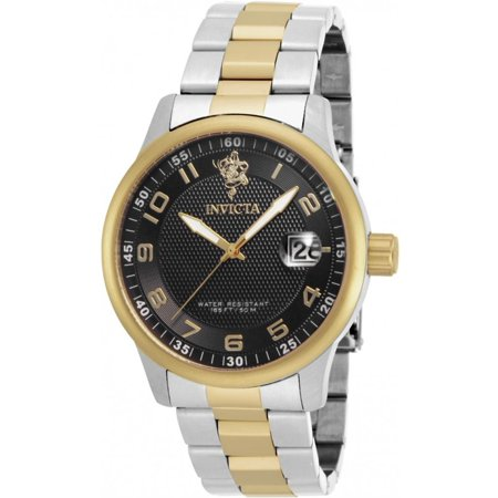 - Men's Sea Base Gold-Tone Steel Bracelet & Case S. Sapphire Quartz Black Dial Analog Watch 17915