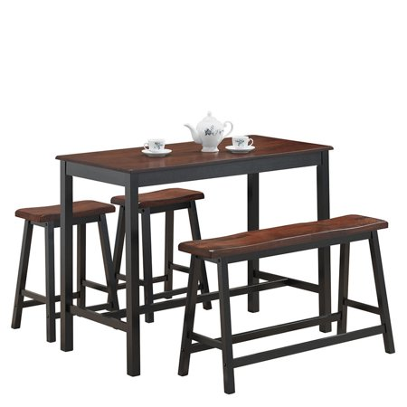 Costway 4 Pcs Solid Wood Counter Height Table Set w/ Height Bench & Two Saddle Stools