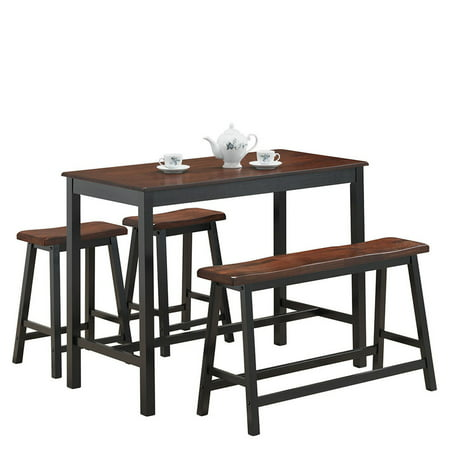Costway 4 Pcs Solid Wood Counter Height Table Set w/ Height Bench & Two Saddle Stools ()