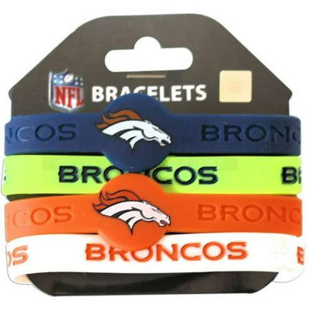 Leather Denver Broncos Bracelets - NFL Denver Broncos Silicone Rubber Bracelet Set