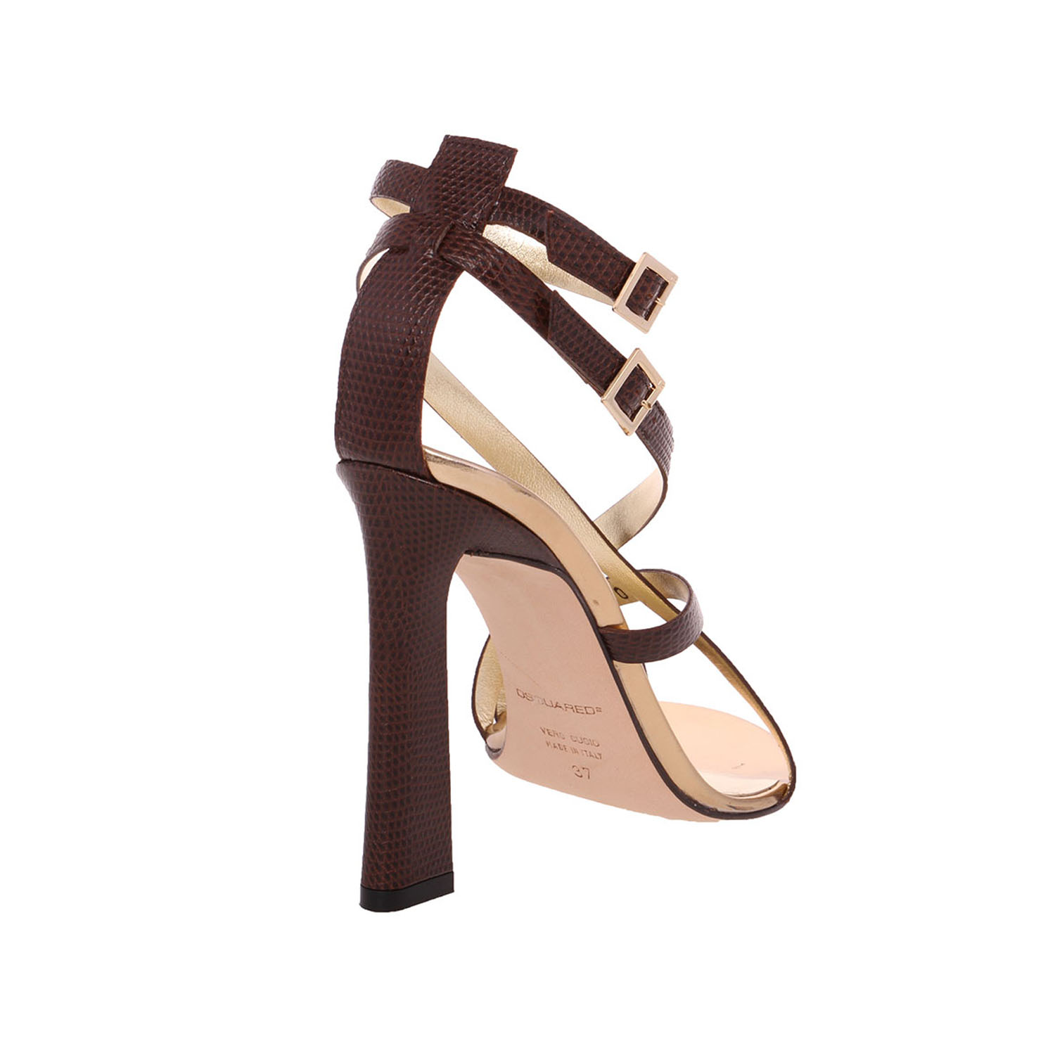 Dsquared2 Women Brown Lizard Embossed Leather Toe Ring High Heel Sandals Shoes US 8 EU 38