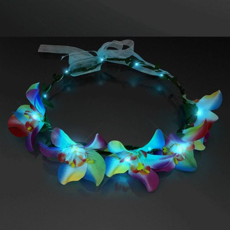 Light Up Tropical Orchid Floral Halo Crown Headband by Blinkee