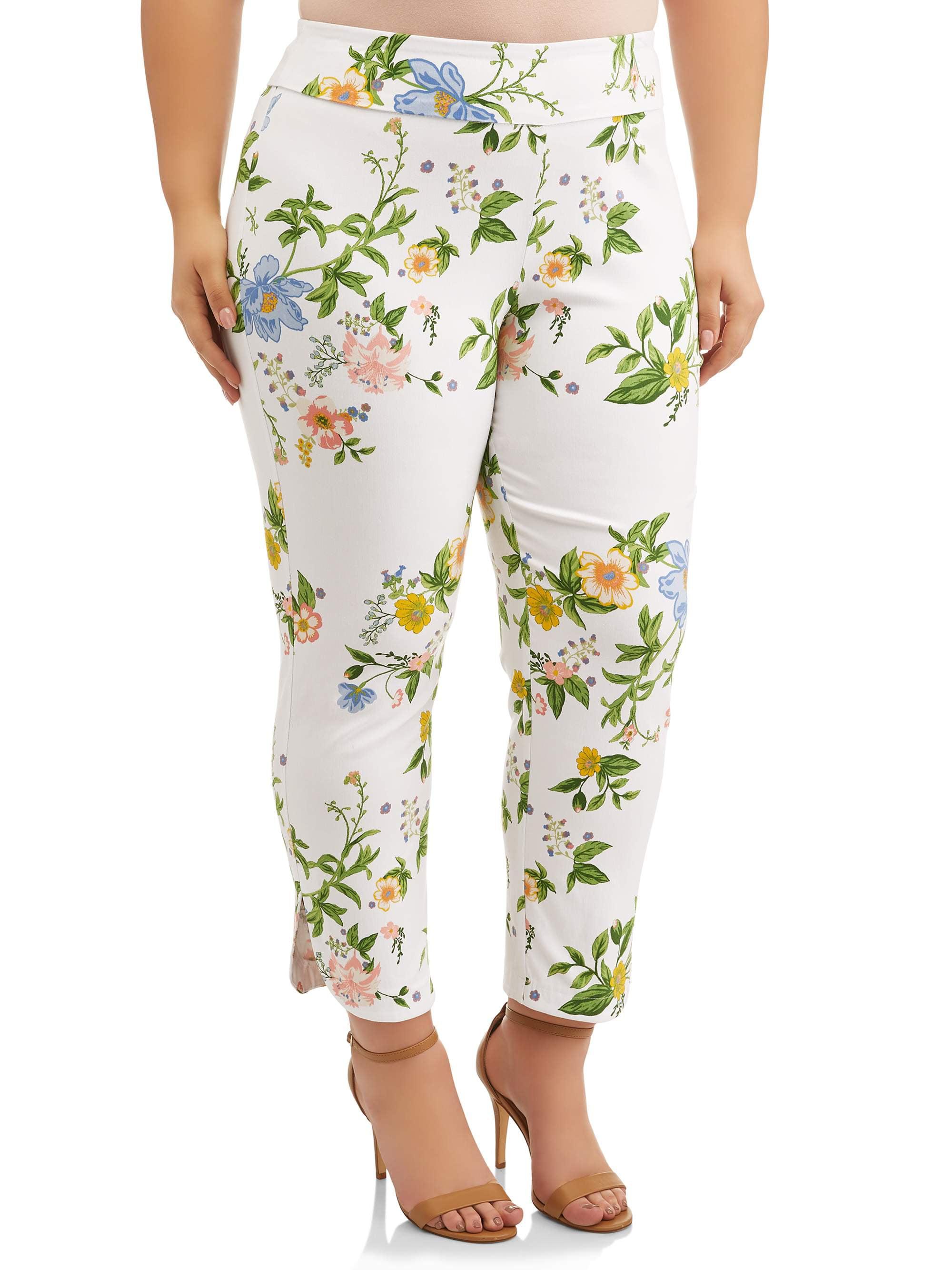 Women's Plus Size White Floral Print Pant