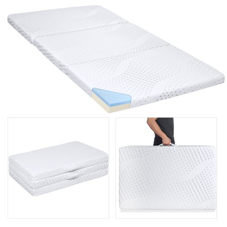 Best Choice Products Portable 3-inch Full Size Tri-Folding Memory Foam Gel Mattress Topper w/ Carrying Handle, Removable Cover,