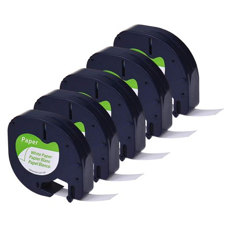 GREENCYCLE 5PK 12mm 4m Black on White Paper Label Tape for Dymo 91330 91220 91200 59421 S0721510 LetraTag Printer Dymo Colored Label Printer