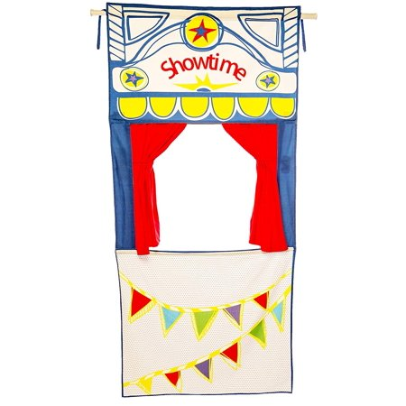 Doorway Puppet Theater with adjustable rod, tie-back curtains - over 6 feet tall, 100%
