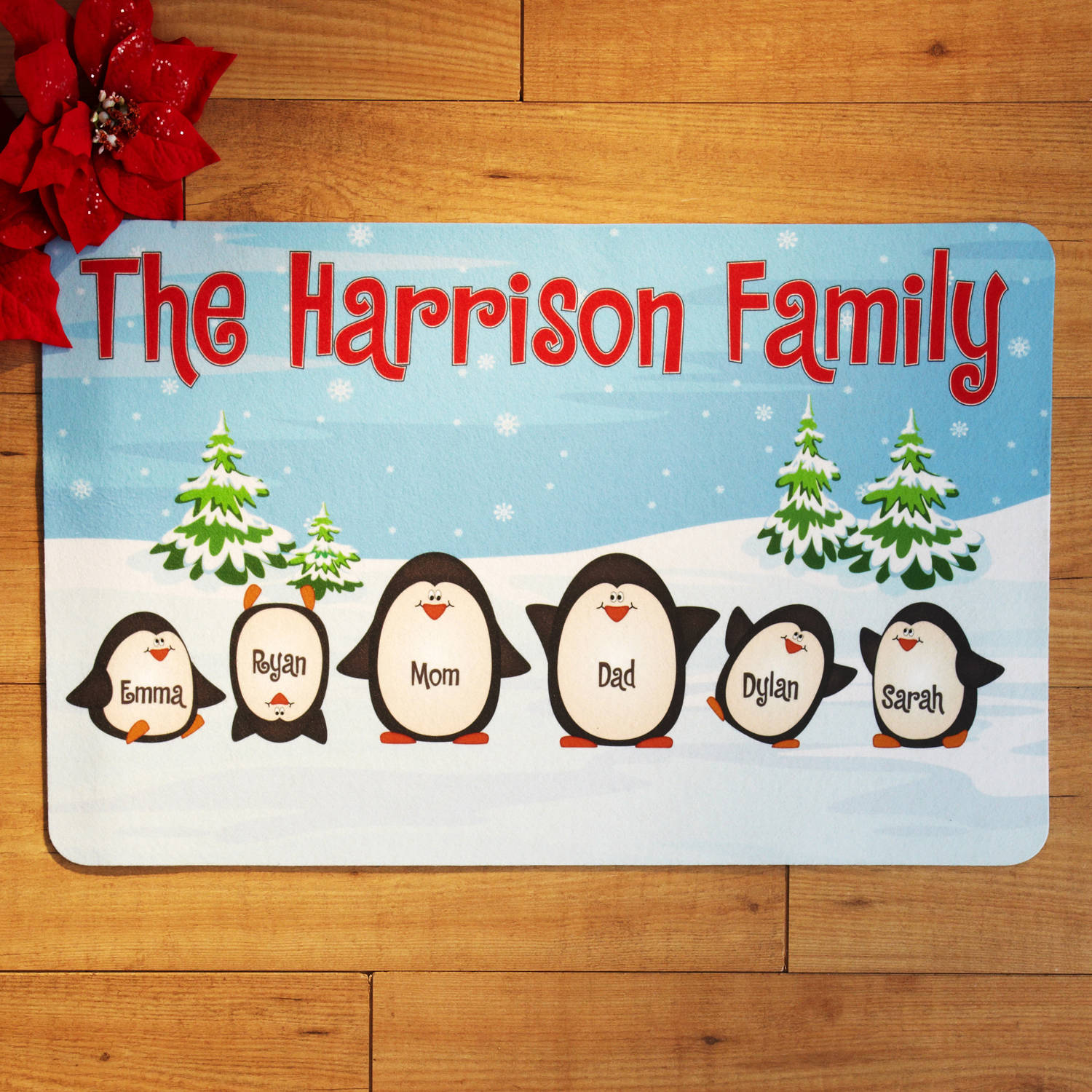 Personalized Penguin Family Doormat, Multiple Sizes