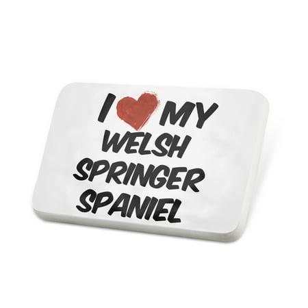 Springer Spaniel Pin (Porcelein Pin I Love my Welsh Springer Spaniel Dog from Wales Lapel Badge – NEONBLOND )