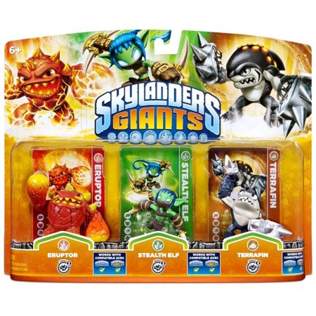 Skylanders Giants Eruptor, Stealth Elf & Terrafin Figure 3-Pack