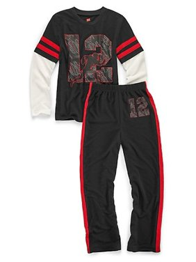 Hanes Boys' Sleepwear 2-Piece Set, Varsity Print