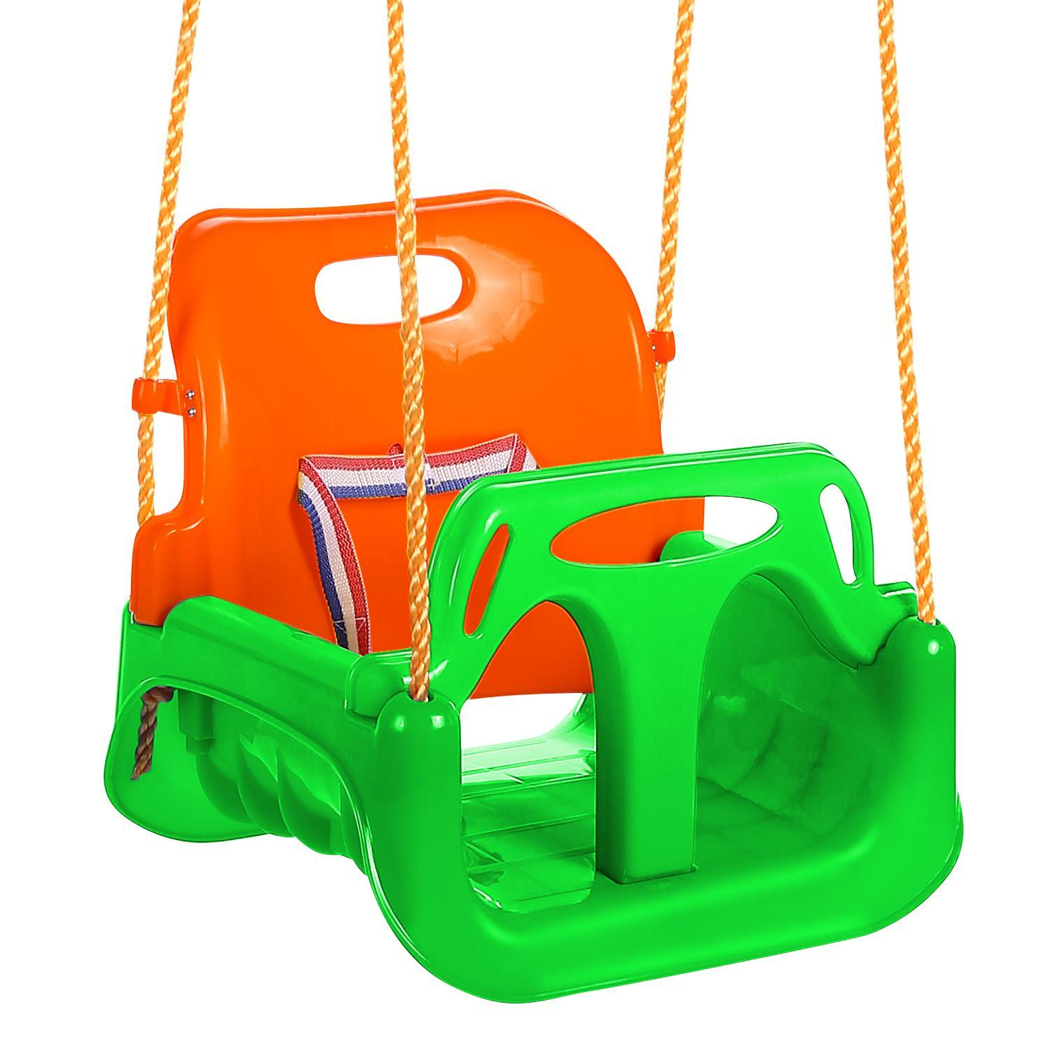 Bucket Swing Seat 3-in-1 T-Bar Indoor and Outdoor Safe and Secure Swing Set Playing for Fun Perfect for Infants,Babies and Toddlers(Blue/Pink/Green) BEDTS