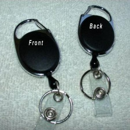 BLACK Carabiner Style Retractable Reel. Ideal For Holding A Key, ID Badge Holder, Proximity Card. Sold