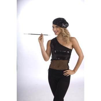 FLAPPER SEQUIN BERET-BLACK (Flappers Hats)