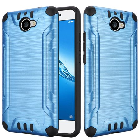 Huawei Ascend XT2 Case / Elate Case - Wydan Slim Hybrid Brushed Metal Texture Combat Shockproof Hard Phone Cover - Blue on Black](huawei ascend x u9000)