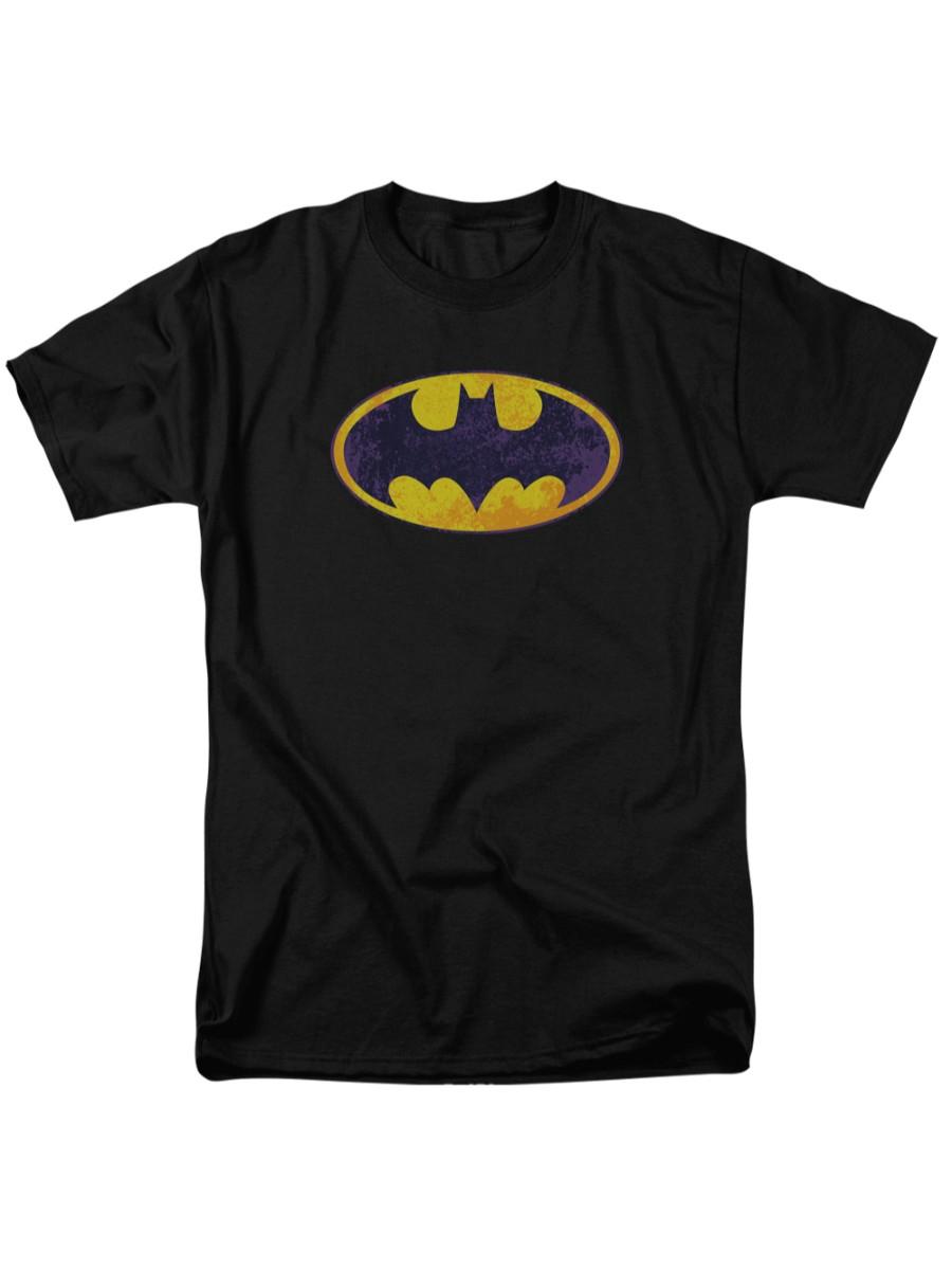 Batman DC Comics Bm Neon Distress Logo Adult T-Shirt Tee by Trevco