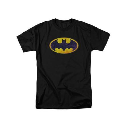Batman DC Comics Bm Neon Distress Logo Adult T-Shirt Tee (Adult Batman Shirt)