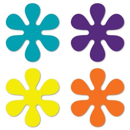Set of 4 70's Flower Pack (Purple, Yellow, Orange, & Aqua) Magnet](Flower Magnets)