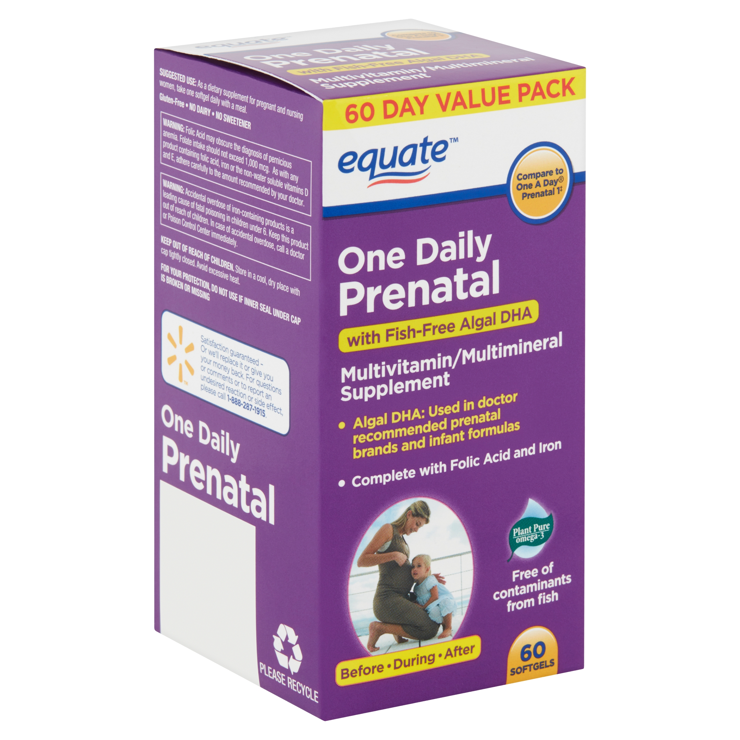 Equate One Daily Prenatal Softgels Value Pack, 60 count