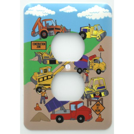 Construction Outlet Cover / Construction Light Switch Plates  Theme with Bulldozers, Tractors, Cement Truck, Steamroller, Krane, and Dump Truck Wall Plate