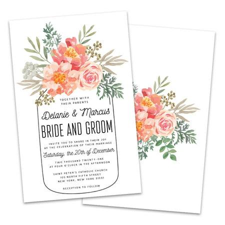 Personalized Floral Mason Jar Wedding Invitations