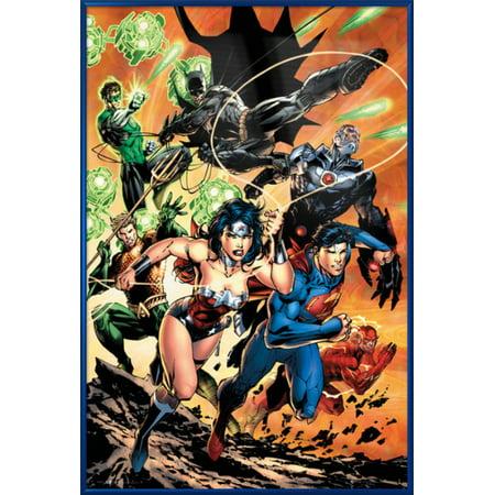 Batman Poster (Justice League Of America - Framed DC Comics Poster / Print (Attack - Superman, Wonder Woman, Batman, The Flash, Green Lantern, Aquaman...) (Size: 24