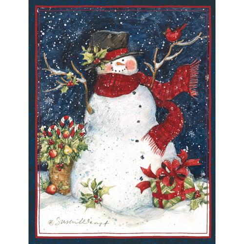 Four Snowmen Slim 14 Boxed Christmas Cards by LPG Greetings