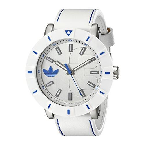 Adidas adh3040 54mm Stainless Steel Case White Calfskin Mineral Men's Watch by Adidas