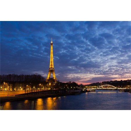 GreenDecor Polyster 7x5ft Travel Nightscape Backdrop Photography Background French Paris Eiffel Tower River Sky Lover Adult Artistic Portrait Photo Shoot Studio Props Video Drop Dusk European