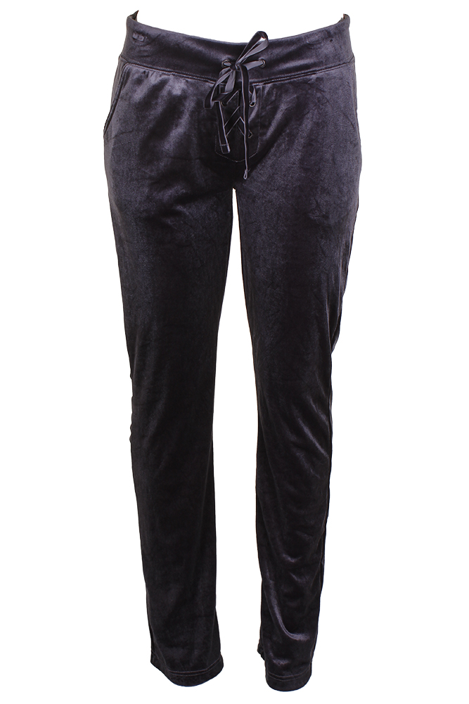 Material Girl Juniors Charcoal Lace-Up Velour Lounge Pants XS