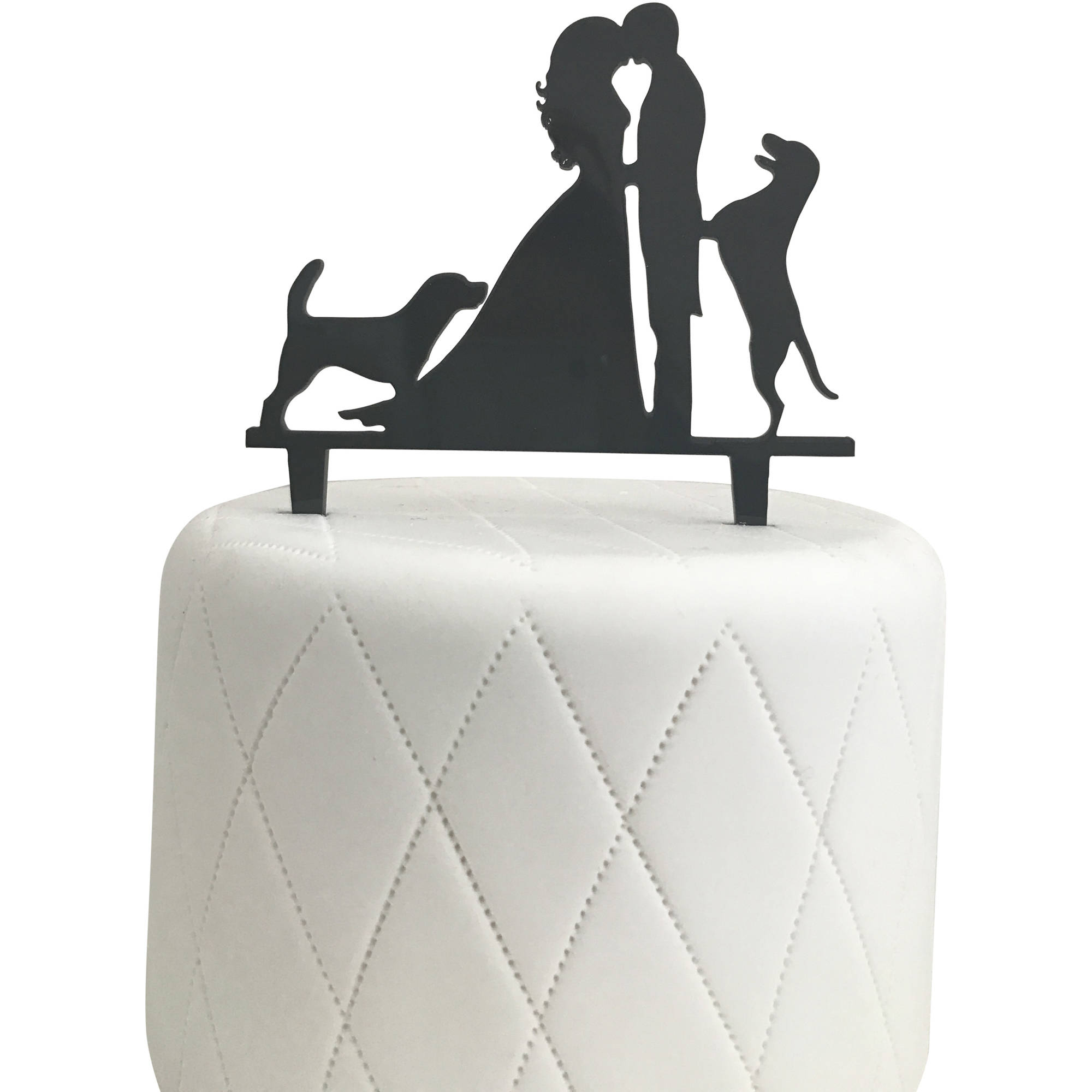 Bride, Groom and 2 Dogs Silhouette Acrylic Cake Topper