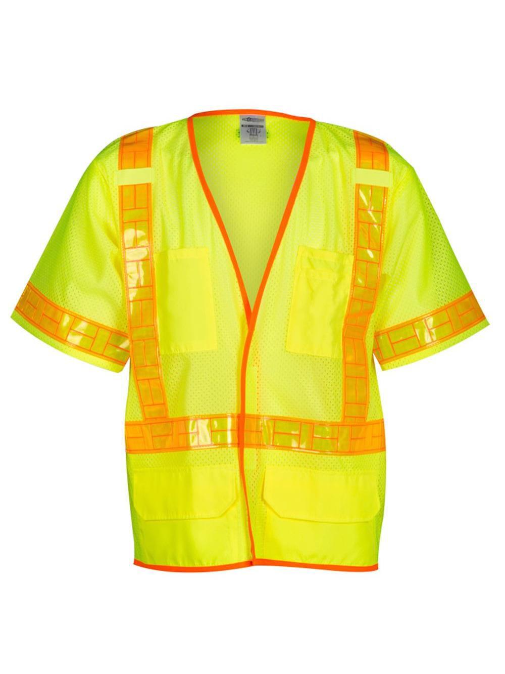 Orange/Red with Silver Stripe Traffic Vest, ANSI 3, Hook-and-Loop Closure, M