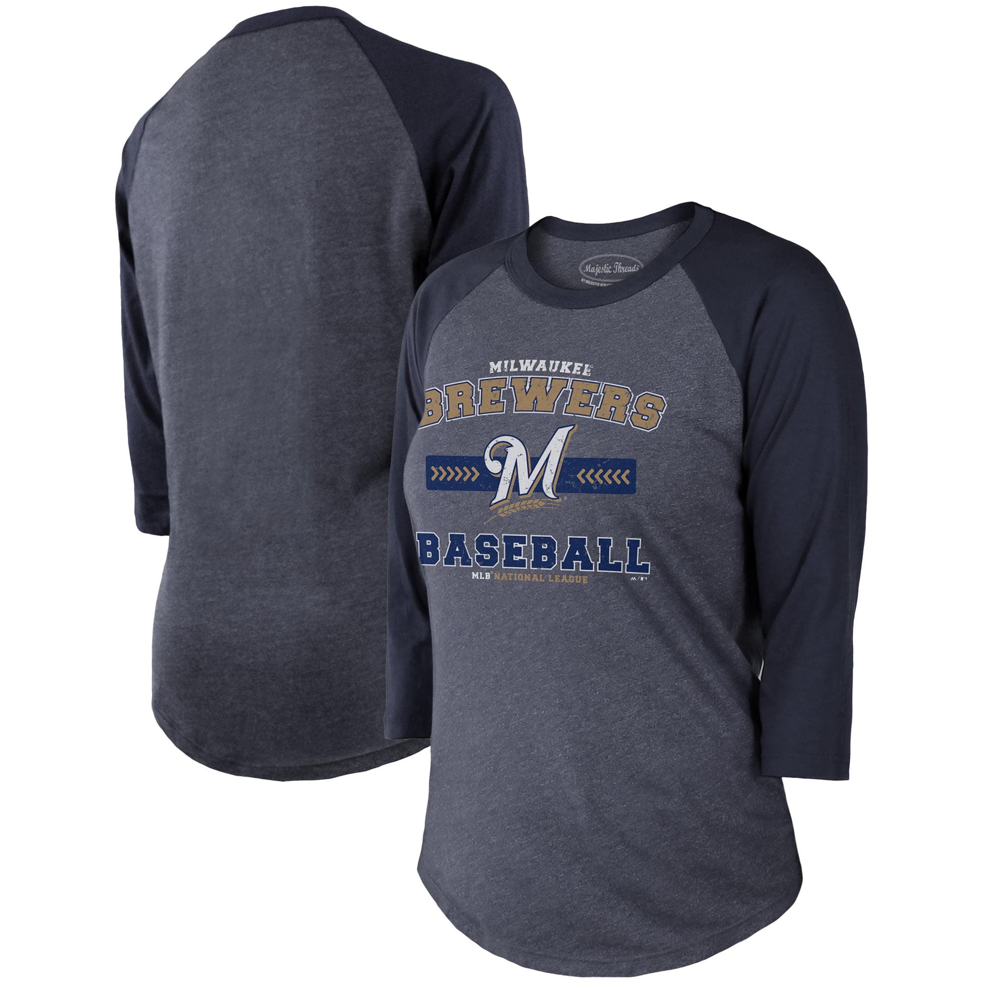 Milwaukee Brewers Majestic Threads Women's Tri-Blend 3/4-Sleeve Raglan T-Shirt - Navy