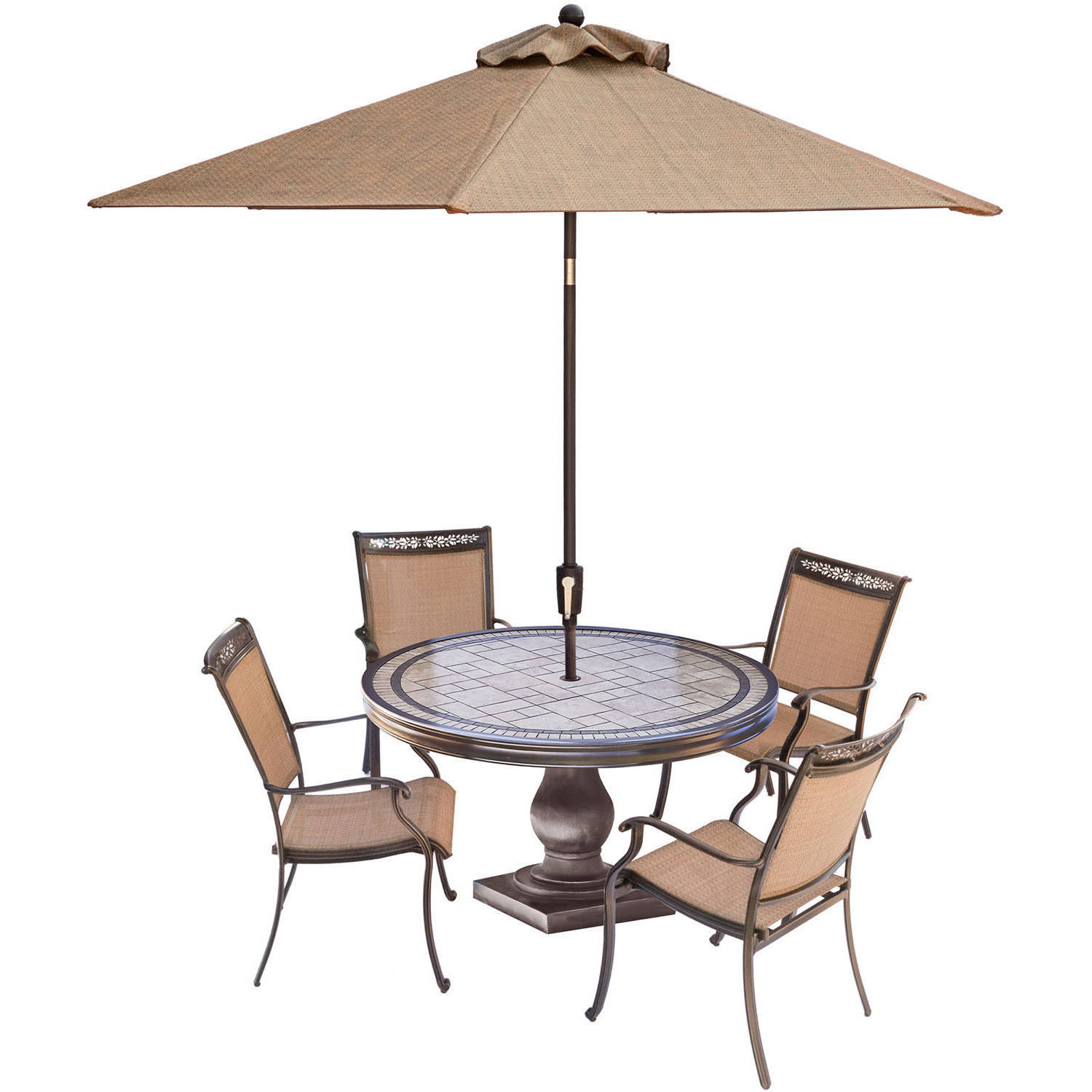Hanover Fontana 5-Piece Outdoor Dining Room Set with Stationary Chairs, Tile-Top Table and... by Hanover