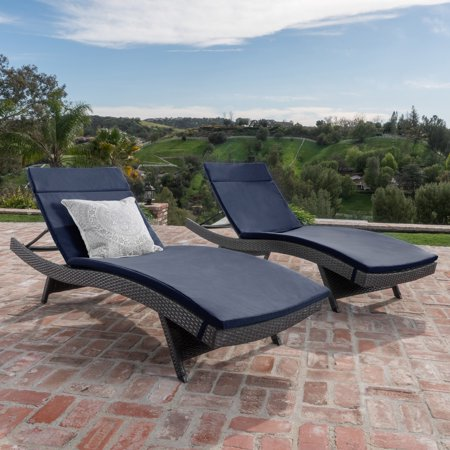 Anthony Outdoor Wicker Adjustable Chaise Lounge with Cushion, Set of 2, - Chaise Lounge Seat Cushion