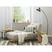 Modern Chaise Lounge Bed Chair Recliner Single Sleeper Beige Fabric Alsten