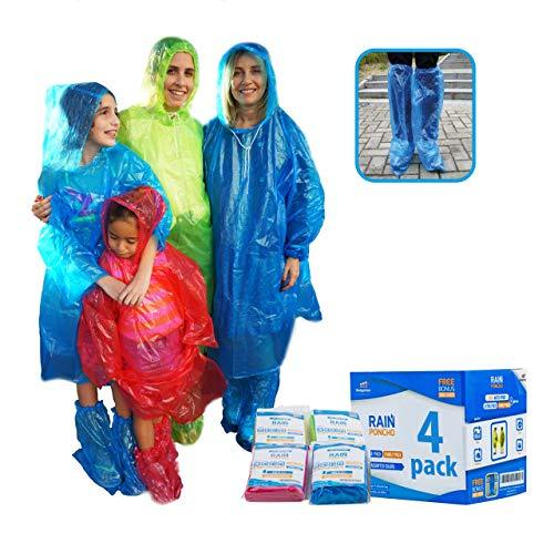 Emergency Disposable Rain Gear Ponchos for Adults Rain Ponchos with Drawstring Hood Disposable Extra Thick Rain Gear for Outdoors