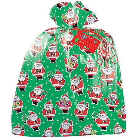 Christmas Bass - (2 pack) Large Plastic Santa Claus Christmas Gift Bag, 3.75 x 3 ft
